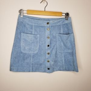 Cotton Candy LA Blue Suede Button Down Skirt
